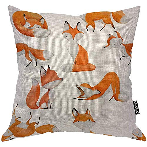 QDAS Kussensloop Fuchs Nature Cute Animal Foxes Sleep Run Sit In Forest kussensloop vierkant voor bank bed Oranje Wit