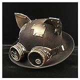 XXY Hombres de Las Mujeres Unisex Steampunk Bowler Hat Gafas Topper Sombreros Sombreros Sombrero Dome Topper Lujo Fedora Hat (Color : BLG Negro, tamaño : 57-58 CM)
