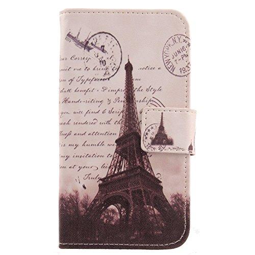 Lankashi PU Flip Leder Tasche Hülle Hülle Cover Schutz Handy Etui Skin Für Kazam Th&er 345L Stamp Tower Design