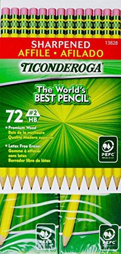 Ticonderoga Sharpened Pencils #2 HB Premium Wood Latex-Free Eraser, (72 Pencils)