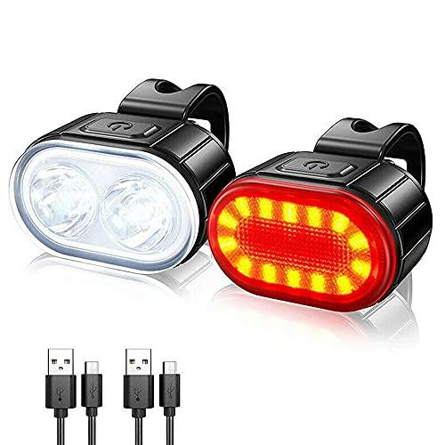 Fahrradbeleuchtung Set, Xaeiow IPX4 Wasserdicht LED Fahrradlicht Vorne Rücklicht Set Rennrad Licht, USB Wiederaufladbare