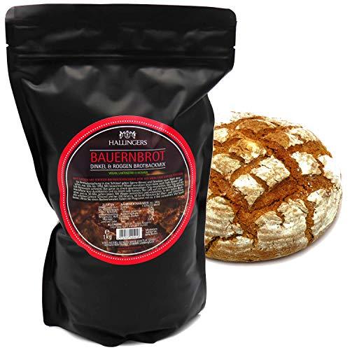 Hallingers Natürliche Brotbackmischung (1.000g) - Bauernbrot - Dinkel & Roggen Brotbackmix (Aromabeutel) - zu Weihnachten Passt immer