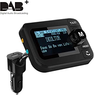 In Auto DAB Radio, Esuper Tragbares Autoradio DAB + Adapter mit FM Sender + Bluetooth Audio Empfänger + 3.5 mm Aux Ausgang + 5V 2.1A Kfz Ladegerät + U Disk / TF Play + 2.3' LCD Display + Freisprechen