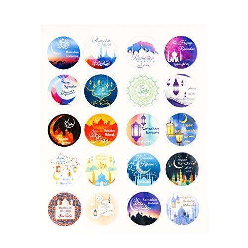 KunmniZ 100pcs Ramadan EID Mubarak Decorations Paper Sticker Gift Seal Label Stickers Warm Gift