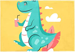 Area Rug Easy to Clean Stain Fade Resistant Shed Free,Drinking T-Rex Background Print Foam Play Mat Living Room Floor Mats Baby Crawling Mats Climbing Pad Nursery Rug Carpet 60