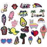 22 piezas, Parche termoadhesivo,pegatinas de tela bordadas,ropa de bricolaje,adecuada para abrigos,camisetas,jeans, labios de plumas
