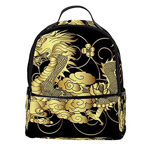 ATOMO Mini mochila casual tradicional chino dragón PU cuero viajes compras bolsas Daypacks