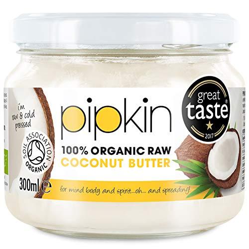 Pipkin 100% beurre de noix de coco biologique 300 ml, sans OGM, concentré de chair pressée au froid non extra pur, extra vierge, sans gluten et sans produits laitiers, végétarien et végétalien