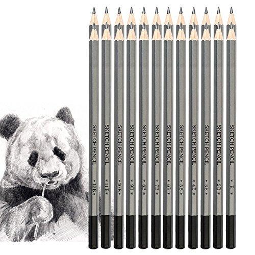 jansroad 24PCS Skizzieren Bleistifte Graphit Zeichnung Bleistifte Set, Travel Set Künstler Zeichnen Kit 9H, 14B für Erwachsene & Kid Anfänger-Künstler
