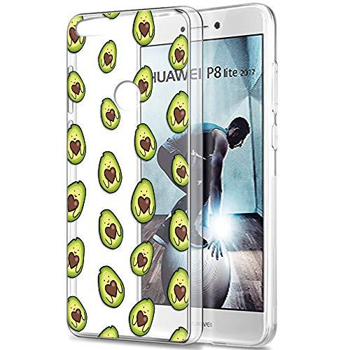 Pnakqil Huawei P8 Lite 2017 Cover Trasparente, Premium Custodia Silicone con Disegni Leggero Ultra Sottile TPU Morbido Antiurto 3d Pattern Bumper Case per Huawei P8 Lite 2017, Molti Avocado