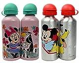 ML Pack de 2 Botellas de Agua de Aluminio Disney de Mickey y Minnie, cantimplora a Prueba de Fugas sin BPA para Levar a la Escuela y Deportes el Termo 500ml para niños y niñas (Rosa)