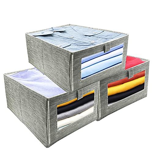 Sweetone Cajas de almacenaje Plegable, Cubos de Almacenaje de Tela, Cubos de Almacenamiento con Ventana Transparente, Organizadores de Contenedore para Ropa Juguetes Libros