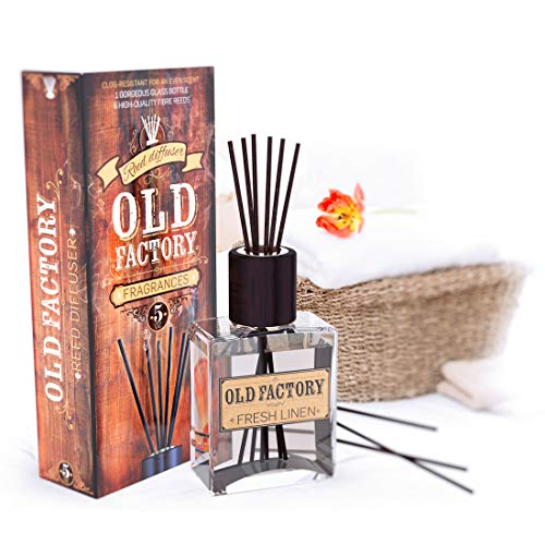 Old Factory Reed Diffuser Set - Fresh Linen - Essential Oil Aromatherapy Scent Bottle and 6 Clog-Resistant Fiber Reeds - Premium Scented Diffusers for Oils - 5-Ounces