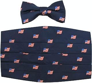 Men's Classic American Flag Cummerbund & Pre-Tied Banded Bow Tie Set