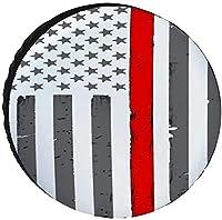 Thin Red Line American Flag タイヤカバー防水日焼け止め調整可能なタイヤダストカバー14-17inch車 タイヤ カバー