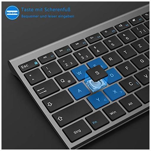 Jelly Comb Teclado inalámbrico con Ratón - Mini teclado ultradelgado inalámbrico 2.4G y Ratón USB recargable para PC… 7