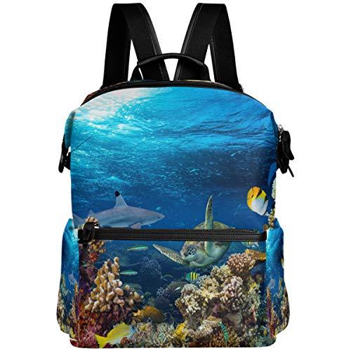 Oarencol Mochila escolar de colores con diseño de tortuga y peces marinos