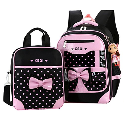 JiaYou Primary Girls Students Polyester School Backpack and Lunch Bag 2 Sets/3 Sets(25L,StyleA Black2Sets)