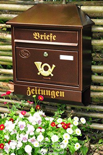 BTV Briefkasten, Premium-Qualität aus Stahl, verzinkt, pulverbeschichtet Walmdach W Kupfer kupferfarben braun + Zeitungsfach Zeitungsrolle Postkasten