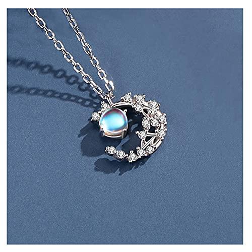 TETHYSUN Ladies Necklace Joyería de Moda Collar de Piedra de Luna Mujer de Plata esterlina Clavícula Cadena Luz de Lujo Estrella y Luna Colgante de joyería Collar para Mujer (Color : A)