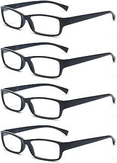 Men Or Women 4 Pack Spring Hinges Frame Rectangular Reading Glasses