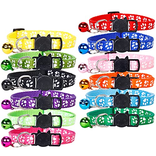 Conruich Pack of 12 Reflective Cat Collar with Safety Lock and Bell Adjustable Cat Collar Soft Nylon Pet Collar for All Cats or Small