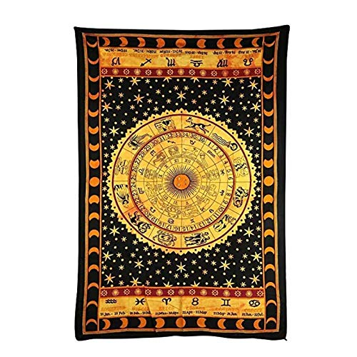 KBIASD Tapiz Negro del horóscopo del Zodiaco, Tapiz Hippie de la astrología India, Tapiz Decorativo étnico para Colgar en la Pared, 200x150cm