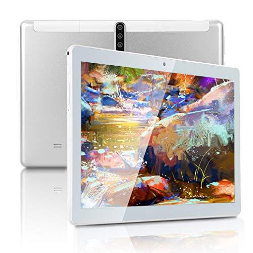 Tablet Android da 10 pollici con CPU Octa Core 4 GB di RAM, 64 GB di ROM, schermo tattile IPS, 5 G WiFi, due schede SIM 3G sbloccate, GPS, E8 (argento)