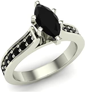 Marquise Cut Black Diamond Engagement Ring 1.00 ctw 14K Gold on Sterling