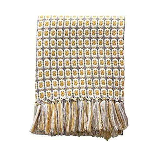 Manta Simple Viento Amarillo Revisado Cálido Cama Sofá Lanzar Manta Con Franja Tasselled Para Habitación De Dormitorio,127 * 172CM
