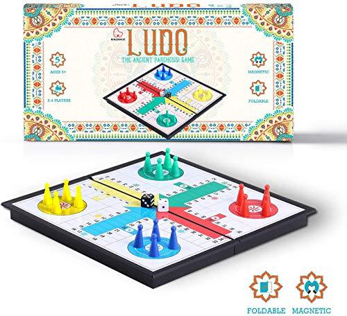 KingMade magnetische Ludo Mart NS opvouwbaar bordspel - klassieke Parcheesi reisset voor gezinnen (10 inch)