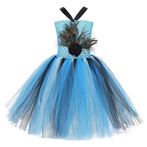 TiaoBug Disfraz de Pavo Real Niña para Carnaval Halloween Vestido Princesa Fiesta Ceremonia Comunión Vestido Flores de Tirantes con Pluma Pavo Real Niña Infántil