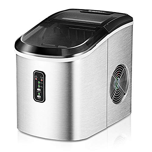Euhomy Ice Maker Machine Countertop, 26 lbs in 24 Hours, 9 Cubes Ready in 6-8 Mins, Electric ice maker and Compact potable ice maker with Ice Scoop and Basket. Perfect for Home/Kitchen/Office.(Sliver)