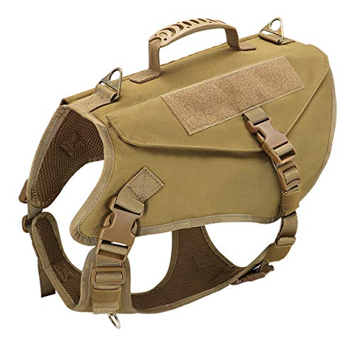 Beirui K9 Tactical Dog Harness for Medium Large Dogs,No Pull Military Dog Vest with Handle for Training Hiking(Coyote Brown,M)