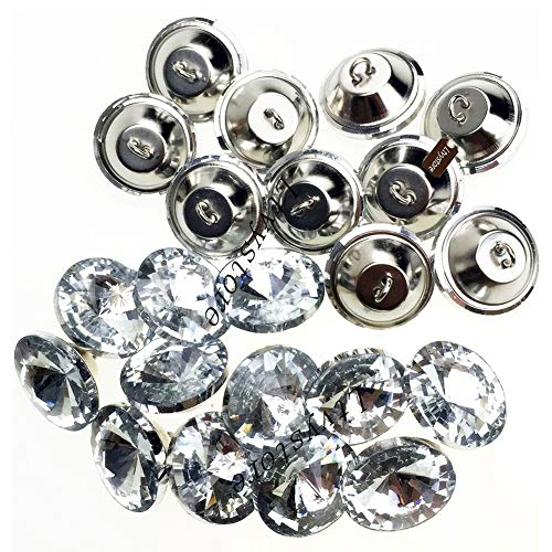 Ltvystore 70PCS 1Inch Rhinestone Crystal Buttons Clear Diamond Tufting Buttons Upholstery Buttons with Metal Loop Buttons for Sewing Sofa Bed Headboard DIY Crafts Decoration