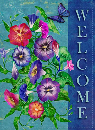 Dyrenson Welcome Quote Garden Flag Double Sided Home Decorative, Pansies Flower House Yard Flag, Floral Garden Yard Decorations, Butterfly Seasonal Outdoor Flag 12 x 18 for Summer Spring