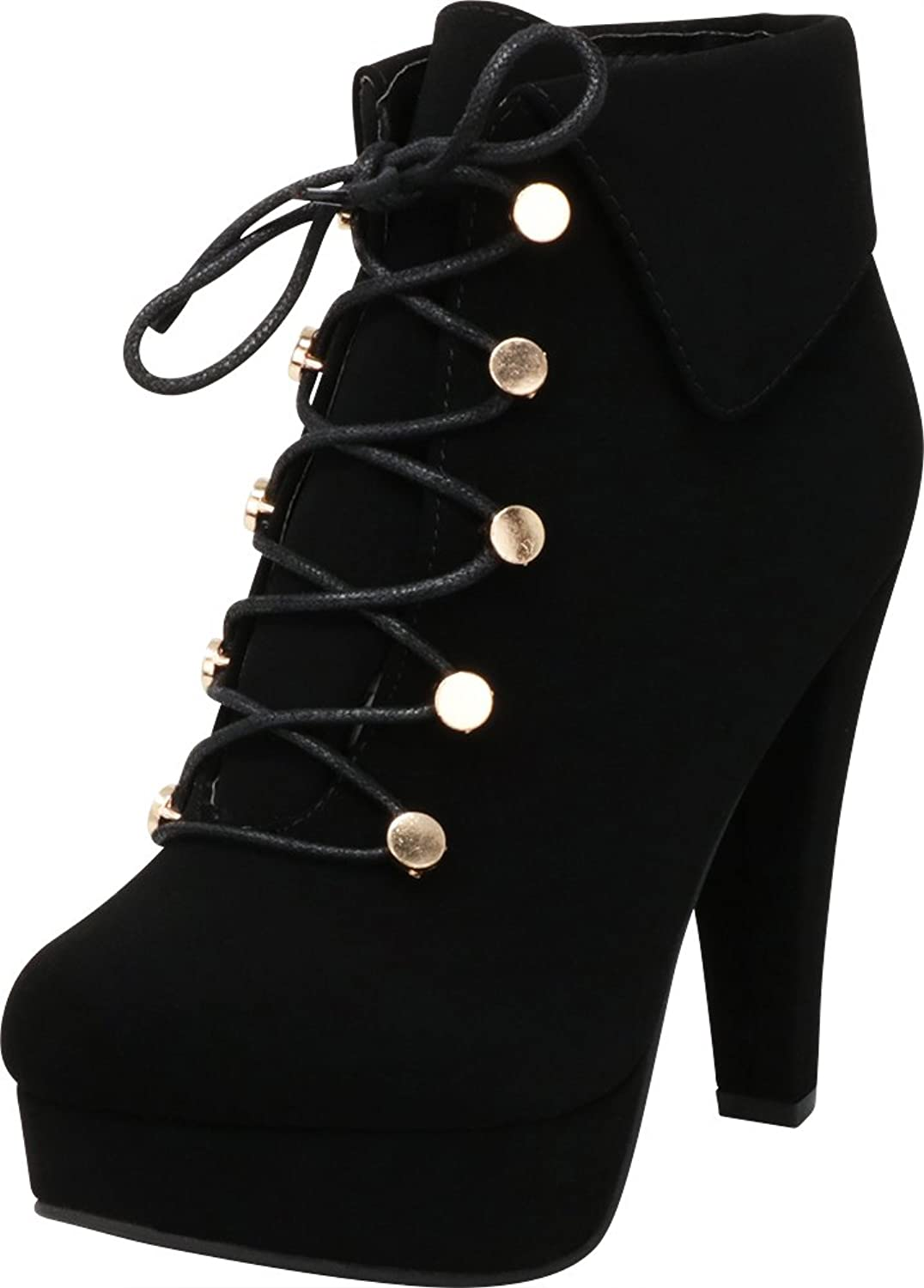 Cambridge Select Women's Fold Over Cuff Lace-up Chunky Platform High Heel Ankle Bootie
