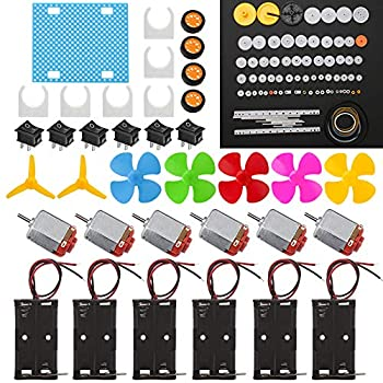 6 Set DC Motor Kit Rectangular Electric 1.5-3V 24000RPM Mini Motor with 86 Pcs Plastic Gears 2 x AA Battery Holder,Motor Mounting Bracket,Boat Rocker Switch,Shaft Propeller for DIY Science Projects