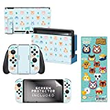 Controller Gear Authentic and Officially Licensed 2 Pack Animal Crossing: New Horizons - 'Outdoor Pattern' Nintendo Switch Skin Bundle & 'It Takes A Village' Tech Decal - Nintendo Switch