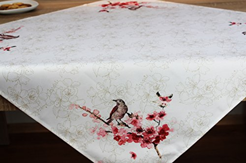 Kamaca Serie Vogel UND Blumen Druck-Motiv in pflegeleichter strapazierfähiger Qualität EIN Schmuckstück zu jeder Jahreszeit (Tischdecke 85 cm x 85 cm wollweiß)