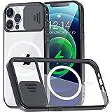Funda Transparente Compatible con iPhone 12/12 Pro 6.1' MagSafe [con Protector Cámara] [9X Fuerza Atracción magnética] Carcasa Magnética Silicona Antigolpes Anti-Arañazos Parachoques de TPU Negro