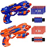RegeMoudal 2 Pack Blaster Toy Guns for Kids with 2 Foam Dart Wrist Band and 60 Pack Refill Soft Foam Darts, Best Gifts with Hand Guns for 3-10 Year Old Kids