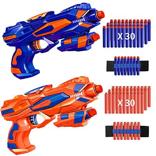 RegeMoudal 2 Pack Blaster Toy Guns for Kids with 2 Foam Dart Wrist Band and 60 Pack Refill Soft Foam...