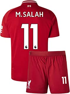 Kids M. Salah Jersey 2018/19 Youth Home Soccer 11 Liverpool Shorts Mohamed