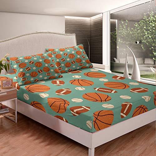 Juego de sábanas de baloncesto con diseño de pelota de béisbol y rugby, juego de sábanas para niños, niños, niñas, juegos competitivos, funda de cama para decoración de habitación, tamaño individual