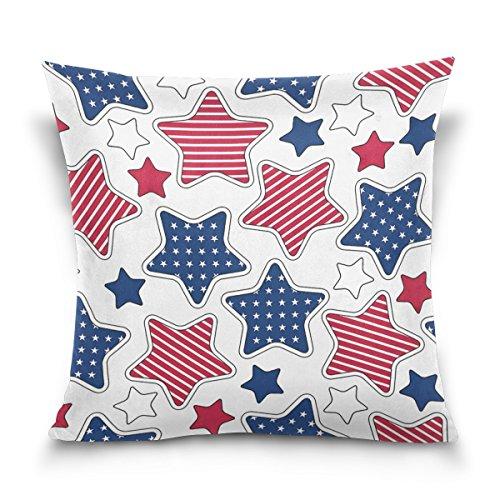 ALAZA Parure de lit carrée décorative avec étoiles et Rayures américaines - Housse de Coussin pour canapé, Chambre à Coucher, Voiture, 40,6 x 40,6 cm, Rouge et Bleu, Coton, 41 x 41 cm