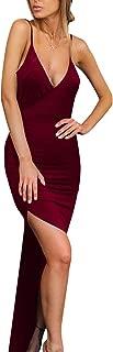 Velius Women's Sexy Spaghetti Strap V Neck High Slit Backless Party Wrap Maxi Dress