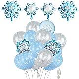 XYDZ 56 Piezas de Globos congelados Decoraciones de Fiesta congeladas Azules Copos de Nieve Blancos y Azules Globos de látex Globos de cumpleaños