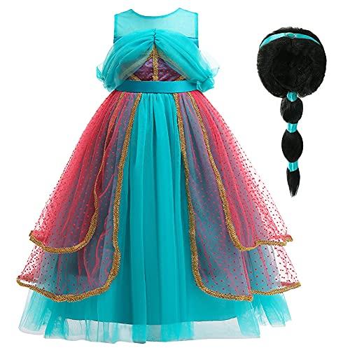 YOSICIL Jasmine Princesa Disfraz con Peluca Traje Aladin Vestido Princesa Jasmine rabe Cosplay Navidad Halloween Fiesta de Cumpleaos Carnaval 3-9 aos