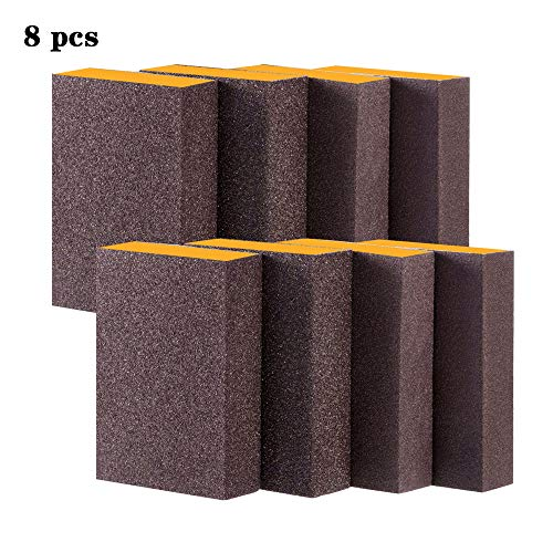 Sanding Sponge,40/60/80/120/4 Different Coarse Fine Specifications Sanding Blocks Assortment,Washable and Reusable.(8 Pcs)